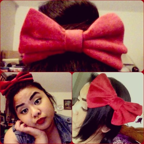 Totes lovin' my red velvet bow! Made by my lovely bff, @shesobogus