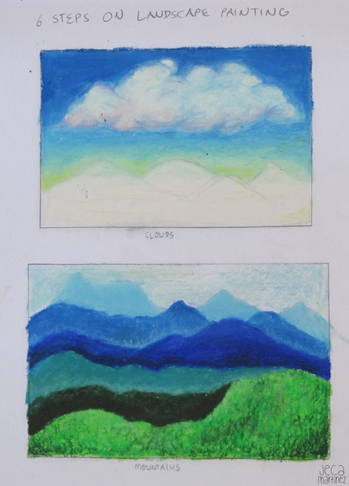 The 6 Steps on Landscape Paintingoil pastels Week 6 homework for my art class. Read more and see more here :D