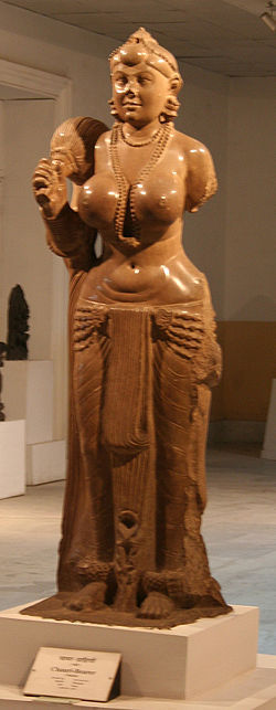 now-ever:  One of the earliest and most sensational stone sculptures in India is a life-size image of a woman, carved from sandstone and polished to a glossy tan finish. (Popularly known as the Chowri-bearer or Yakshi) Who is this strong, erect woman who holds herself proudly and gazes directly at the viewer? Her sensuous monumentality is breathtaking. She provides a total contrast, for instance to the roughly contemporaneous and celebrated images of Greek Aphrodite, whose slight stoop and inwardly curved body suggests vulnerability, who avoids eye contact with the viewer, and who uses her hands to cover her genitals and breasts. Like the Greek deity, this figure is the product of a strongly patriarchal* society; yet she seems neither humble nor humiliated by her sexuality, which she proudly exhibits*. Found along the banks of the Ganges in the Bihar village of Didargarnj, the capital city of the ancient Mauryan monarchs, the sculpture is assigned roughly to third century BCE. The Body Adorned Vidya Dehejia*I realise that the author of the book is renowned and respected, and that is why I am even quoting her, but certain scholarly terms must always be read with a pinch of salt, for they ring true in those circles, or their biases are welcome, but when tested against the deeper, multi-layered context of the eternal Indian mind and soul, they create a false perception. One such word is 'patriarchal'. It would need multiple posts to explain the term exactly from the ancient point of view, but it must not be read as 'purely a society of male dominance and oppression against women'. Similarly, knowing the ancient artist, it would not be his intent to deliberately 'exhibit' her sexuality; it is intrinsic to the sculpture's spirit - but he would not deliberately hide it either. Titillation or repression - both extremes are alien to Indian art. (image - wikipedia)