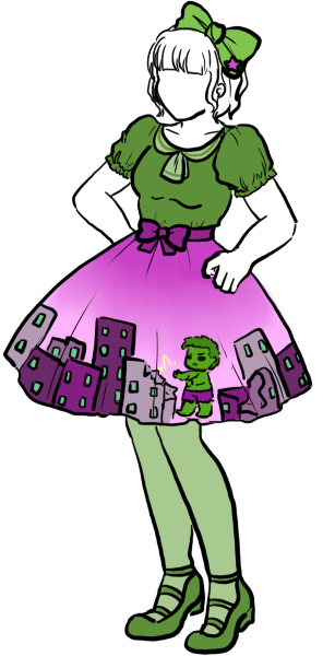Lolita coordinate inspired by The Hulk, by LadyLawga The world needs more lolita skirts with motifs of cityscapes and collateral damage.