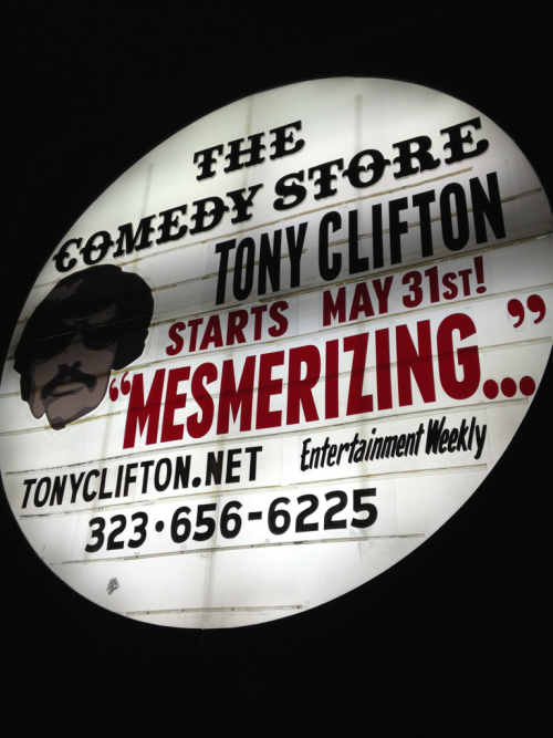 Wow. See Tony Clifton at the Comedy Store. He's there Every Thurs and Fri in June.