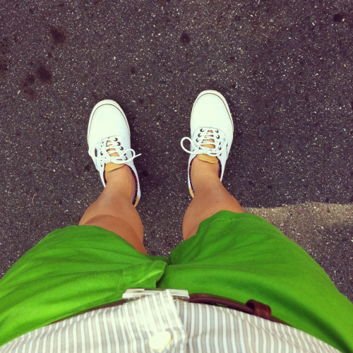 So… I bought some bright green shorts. Here's a shot of me wearing them out in public for the first time yesterday!