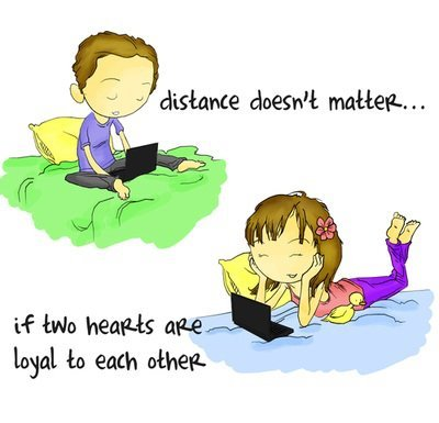 justbeingseriouslysocial:  LOL, distance doesn't matter… if we know each others' Twitter handle!