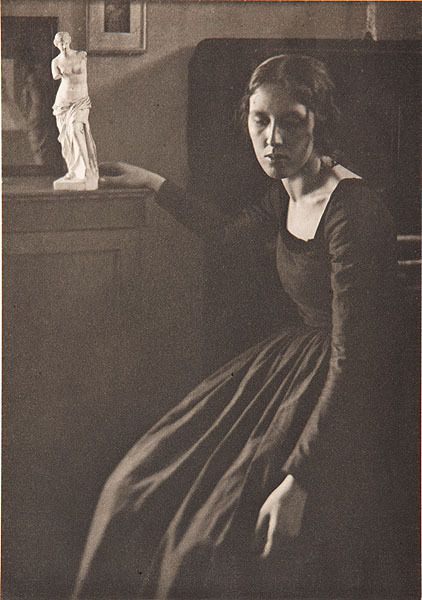 elysskama:  Lady in Black with Statuette Clarence H. White 1908