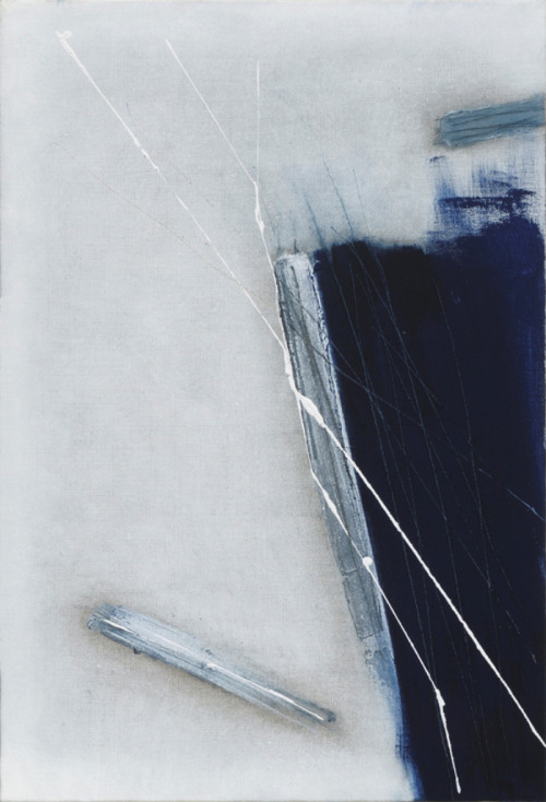 Strazza Guido(Italian, b.1922) Blue with White Marks   2009 mixed media on canvas