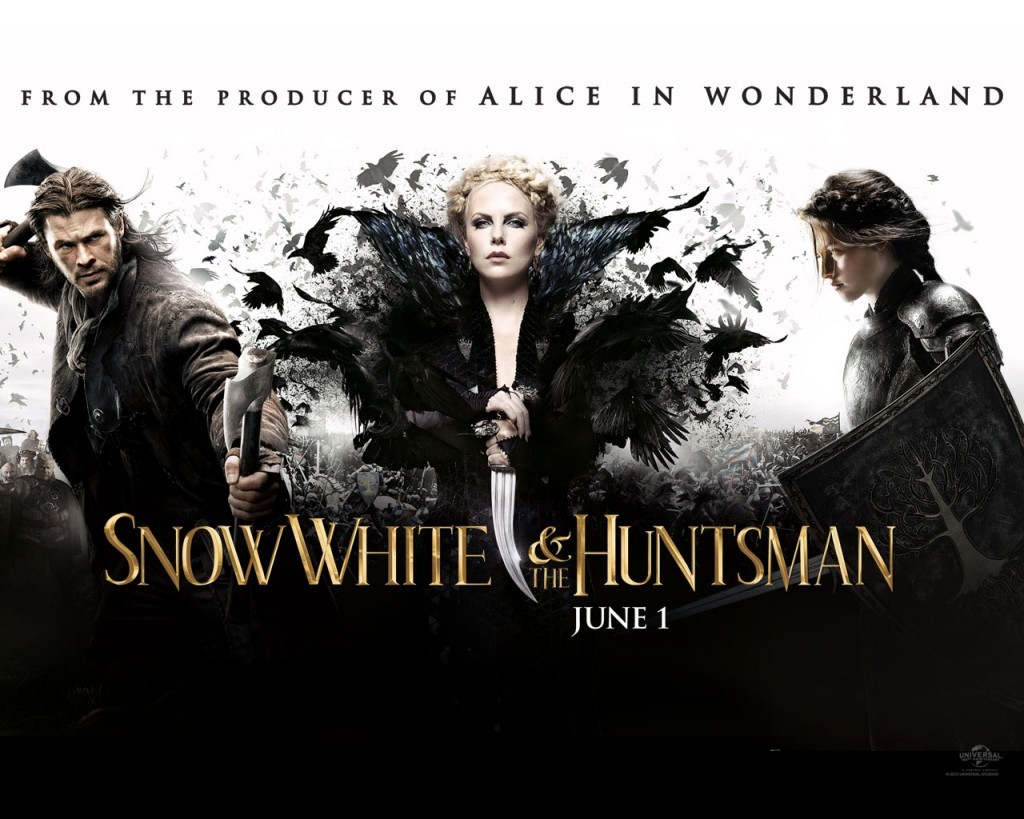 SNOW WHITE AND THE HUNTSMAN (2012) You know that scene in 500 Days of Summer when they show Tom's expectations vs reality? I was reminded of that scene as I was watchingSnow White and the Huntsman. It is a given that movie trailers show the juiciest parts of a film in order to entice and get you to shell out 12 bucks at the theater. I think we can all agree that this film had a pretty awesome trailer that promised nothing but epicness. We were promised something that would rival The Lord of the Rings in scale, and as an avid fan of LOTR as you all know, I welcomed this bold statement. I think that whileSnow White and the Huntsman delivered on this promise visually, it was a bit of a letdown as what was promised to be an updated story to the classic fairy tale.  We all know the Disney version of Snow White, but there is a reason, I think, that it isn't exactly the most beloved of the princess tales. In Disney's version, Snow White is a passive character whose fate is reliant on her beauty and pureheartedness. We are supposed to like her because she's a victim and because she likes to clean random people's houses. She's the ultimate symbol of the domesticated woman. Given this background, when Hollywood promises an update on a character who is so wrought with tired stereotypes of what proper women should be, one could only hope that it entailed something a little bit more substantial. While there were some obvious strides to change Snow White's character to someone more proactive, I was disappointed at how much of the original character remained. I'll go into more detail on this in a bit.  Which leads to a discussion on who the real character of this story is, and that's Queen Ravenna, played with delicious decadence by Charlize Theron. The first thing I will say is that it's high time these fairy tales gave us some back story on why these queens become evil, because we all know no one's born with a thirst for war and an appetite for human hearts. One of the best thin