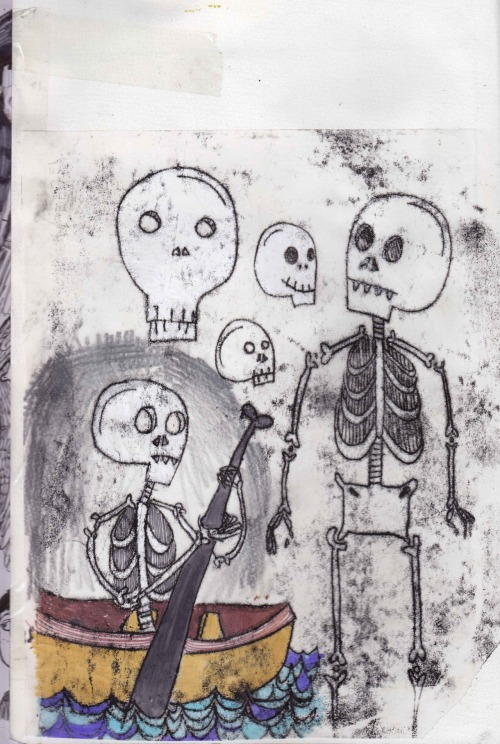 More skeleton monoprints!