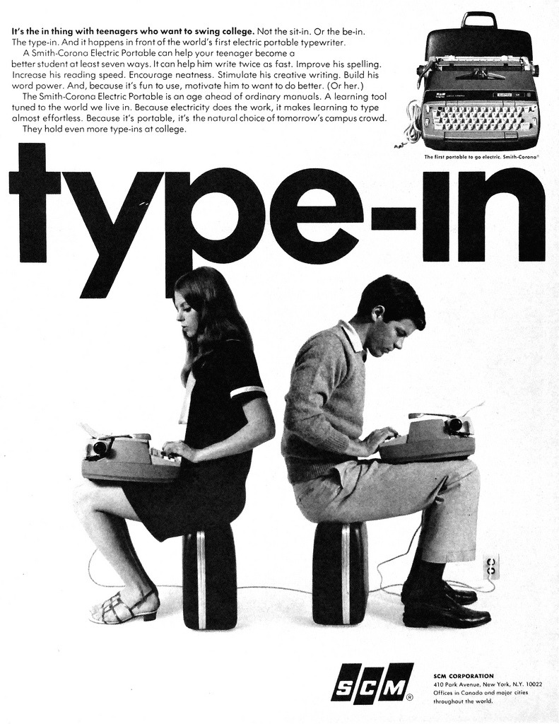 theswingingsixties:  SCM portable typewriters, 1967.