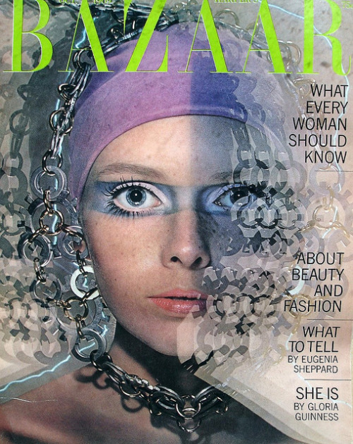 theswinginsixties:  Stephanie Farrow (sister of Mia) on the cover of Harper's Bazaar, October 1969. Photo by Hiro.