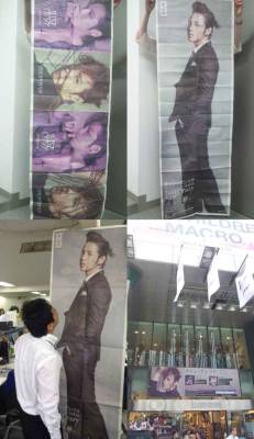 "Life-Size Jang Keun Suk Ads Featured in Japanese Newspapers  Being covered on an entire page in a newspaper is big news, but for Jang Keun Suk, one page was not enough. Instead, he took over eight. An online community posted a photo titled, ""This is Keun-Chan. Good luck to Jang Keun Suk's Japanese Album."" The posting showed eight-page advertisements for Jang Keun Suk's new Japanese album, Just Crazy, including a life-size banner of Jang Keun Suk  Around 500,000 copies of the advertisements were created and distributed randomly in Asahi Shimbun's prints. In order to get their hands on the limited edition Jang Keun Suk advertisements, fans lined up early in the morning to purchase the newspapers. This was a first for an artist and confirmed Jang Keun Suk's popularity in Japan. After finishing up KBS' Love Rain, Jang Keun Suk will be preparing for his upcoming 2012 Jang Keun Suk Asia Tour – The Cri Show 2 in July. source: enews"
