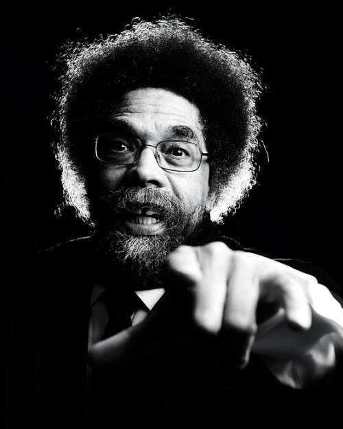 "i12bent:  Cornel West, eminent African-American public intellectual: 59 today… ""In these downbeat times, we need as much hope and courage as we do vision and analysis; we must accent the best of each other even as we point out the vicious effects of our racial divide and pernicious consequences of our maldistribution of wealth and power. We simply cannot enter the twenty-first century at each other's throats, even as we acknowledge the weighty forces of racism, patriarchy, economic inequality, homophobia, and ecological abuse on our necks. We are at a crucial crossroad in the history of this nation—and we either hang together by combating these forces that divide and degrade us or we hang separately. Do we have the intelligence, humor, imagination, courage, tolerance, love, respect, and will to meet the challenge? Time will tell. None of us alone can save the nation or world. But each of us can make a positive difference if we commit ourselves to do so.""  ― Cornel West,  Race Matters, 1994 Photo: Nigel Perry"