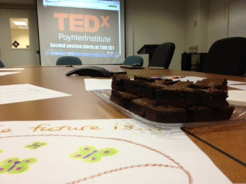 "I organized an all-day live stream from Poynter's TEDx ""The Future of Journalism"" event on June 1 for our newsroom. I baked brownies … popped popcorn … and had crayons and paper at the table for creative doodling. There wasn't exactly a stampede of participants, but the folks who did drop in throughout the day seemed thankful and inspired. And that's what keeps me going!"