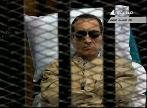 Ousted Egyptian leader Hosni Mubarak sentenced to life in prison The former Egyptian leader, shown from the cage he was held inside the courtroom, is the first former leader convicted in the wake of the Arab Spring revolutions in the past 16 months. Mubarak's conviction, however, may not stand — he was convicted for killings of unarmed protesters in the early days of the protests in Egypt, but many of the officials under him were acquitted for the same actions. Nonetheless, a significant event in the Arab Spring's history. (photo via Reuters TV)
