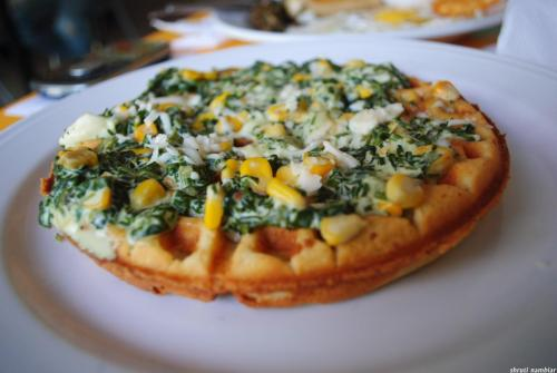 Spinach and Corn Waffles