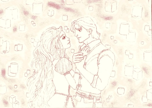 A sketch of rapunzel and eugene ;) <3  by (lilac) http://pumpkin009.deviantart.com/