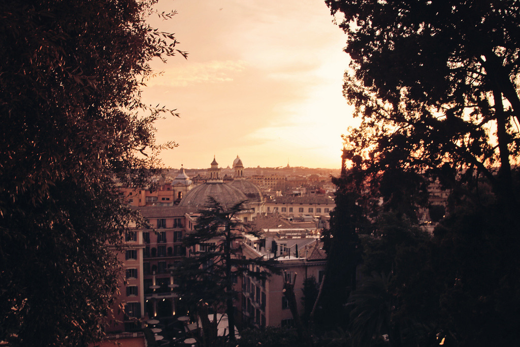 sunset dusk view, pincio hill, rome, italy, 2012 (digital).