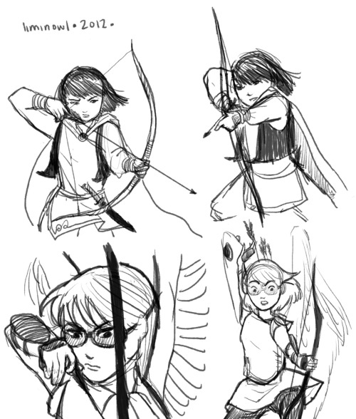 Just to cheer up my blog, some archery poses referenced from 13 Assassins, superimposed onto a couple of my characters