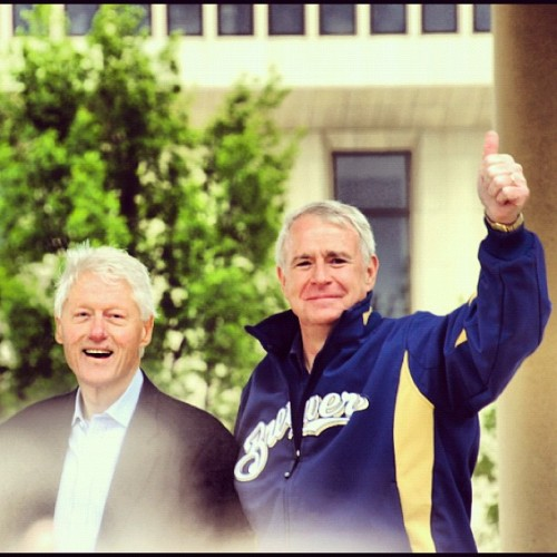 "demnewswire:  ""President Clinton and Tom Barrett joined Wisconsin Democrats to fire up a big Milwaukee crowd."" @OFA_WI Get the information you need to vote June 5th- OWNYOURVOTEWI.COM  FINALLY Barrett gets some big name Dem love!"