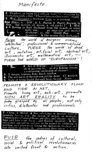 The Fluxus manifesto, 1963.