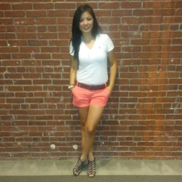 thearisoun:  posey pose. #ootd #fashiondiaries #jcrew #coral #shorts #polo #wedges #preppy (Taken with instagram)