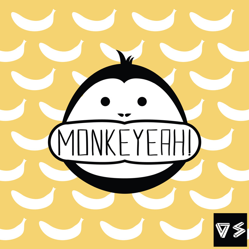 Monkeyeah! Ilustración digital. Banana background. Monkeyeah! Digital Illustration. Banana background.
