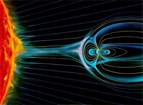 "rhamphotheca:  Diffuse gas—called plasma—flows outward from the sun as the ""solar wind"" and carries with it solar magnetic field lines that become entangled with the Earth's own magnetic field lines. Location of ""holes"" were detected in indicated pink layers, near Earth… (read more: PhysOrg) (Image: NASA)"