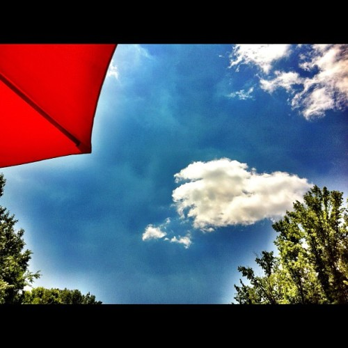 #prohdr #sky #blue #green #trees #red #umbrella #sabbath #peace #nature #time with #god (Taken with instagram)