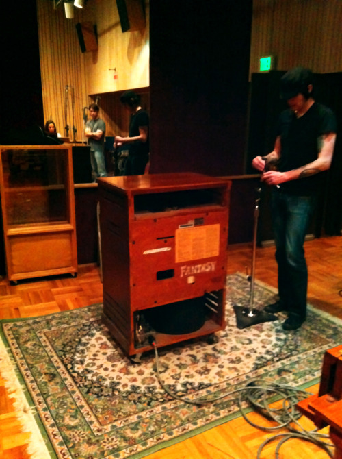 "Jesse, our engineer, setting up the Hammond B3 Organ and rotating Leslie speakers used on the song ""Cardinal"" during For the Birds sessions at Fantasy Studios Stream or download For the Birds, our debut EP, on our Bandcamp Page."