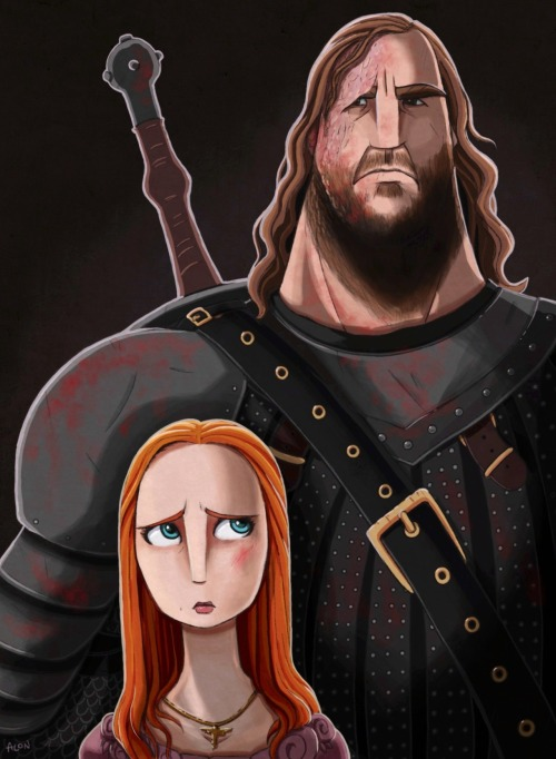 gameofthrones:  The Lady & The Hound. Drawn on iPad using Procreate.