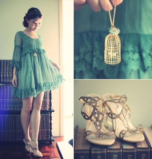 *o* lookbookdotnu:  Emeralds, Glitters and Golden Cages (by Jasmine L)