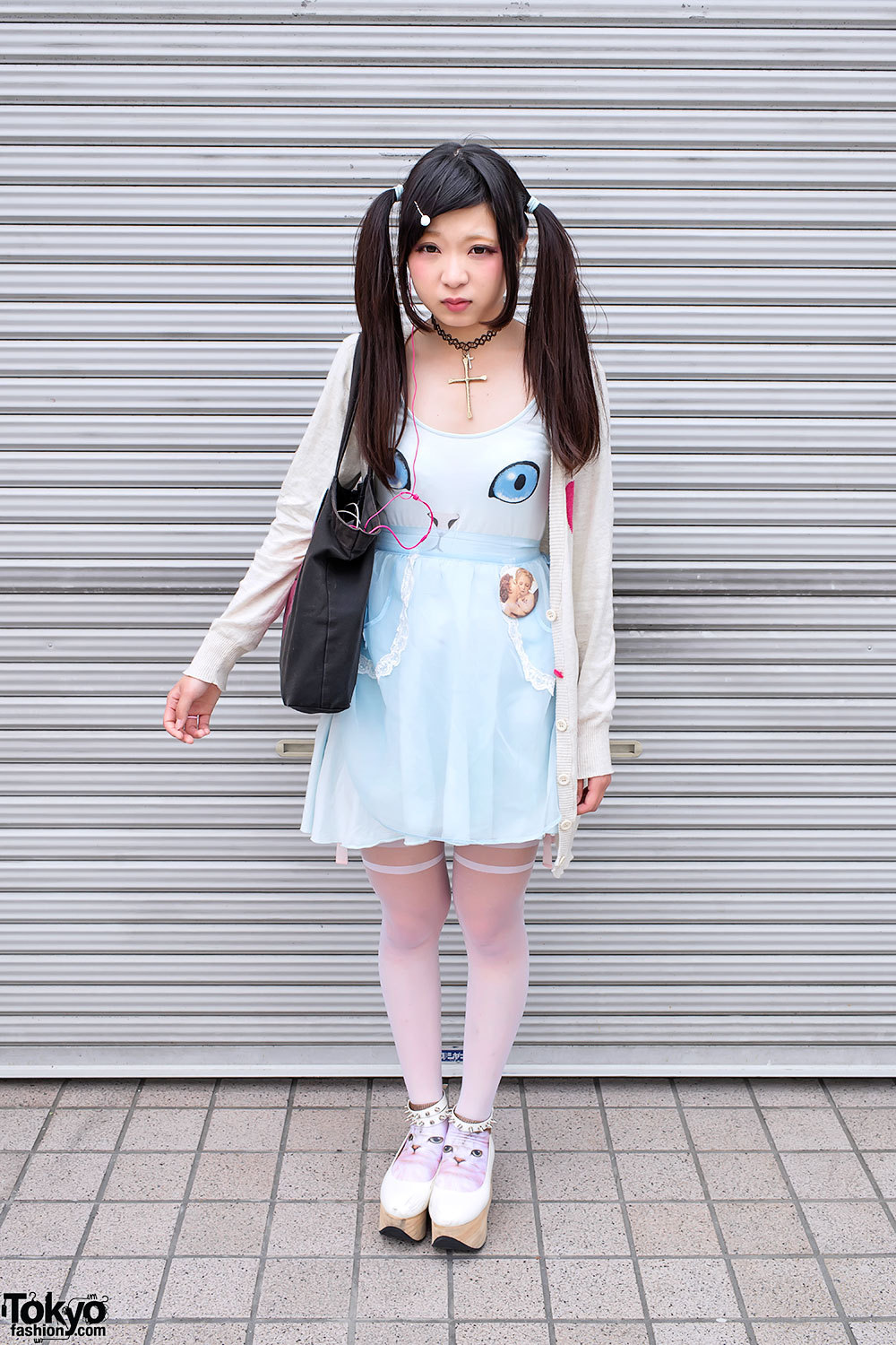 Cute cat dress & cat socks w/ rocking horse shoes in Harajuku.