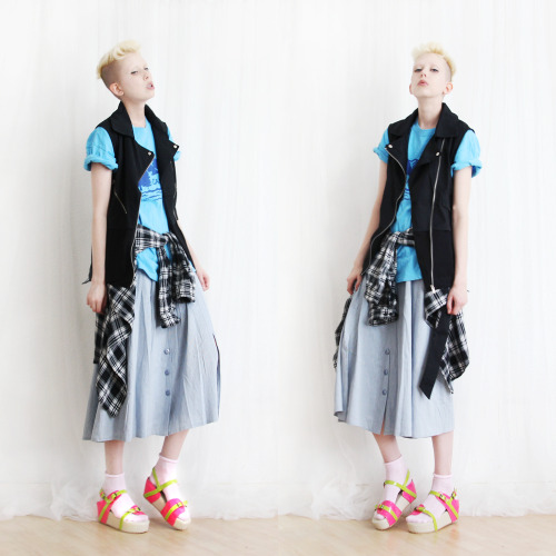 skirt, vest, socks and sandals from MIND THE MUSTARD