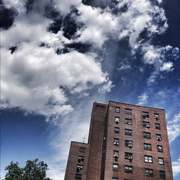 Even the pj's look beautiful under God's artistry. #nyc #sky #projects #bronx  (Taken with instagram)