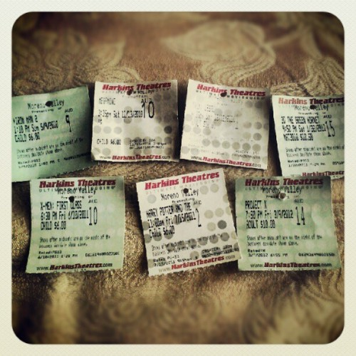 I save my favorite movie's tickets >:o #IronMan2 #Megamind #TronLegacy #TheGreenHornet #XMenFirstClass #HarryPotterAndTheDeathlyHallowsPart2 #ProjectX (Taken with instagram)