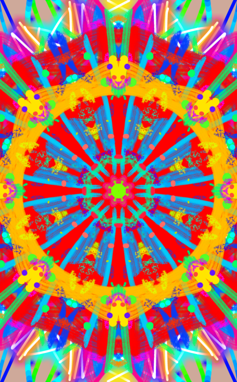 Kaleidoscopic funtimes with an app I've just dowloaded on my phone. It lets you create eye-popping, psychedelic patterns like this. Amazing. Now I've finished my degree I have time to waste on apps like this. I might litter my tumblr up with more of these while I doss about for a while. I plan to set up a website soon to house my artwork, it's about time I did that.