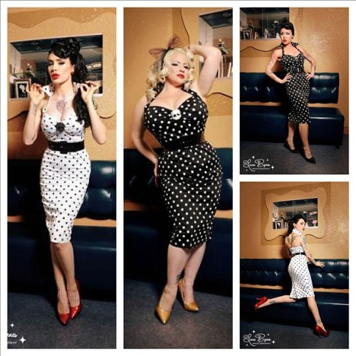 Deadly Dames dress in polka dots, back in stock soon at PinupGirlClothing.com. Modeled by @michelinepitt and @la_cholita #pinupgirlclothing #deadlydames #laurabyrnes #pinup (Taken with instagram)