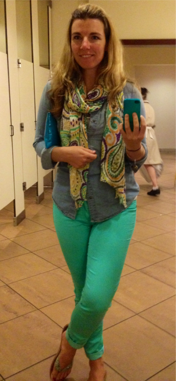 What I wore last night to the movies:   Meagan and I went and saw What to expect when You're expecting and Ron Swanson opened the movie theatre door for us and walked in behind us. Ron Swanson went to see that movie… By himself, on a Friday night. The movie was okay, at best, but it was really funny to see Ron there.