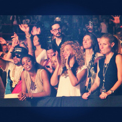 The-Dream, Kelly Rowland, Beyoncé, + Gweneth Paltrow at the Watch The Throne concert in Paris this week…