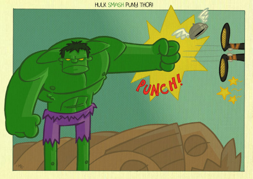 (via Hulk SMASH puny Thor by *tyrannus on deviantART)