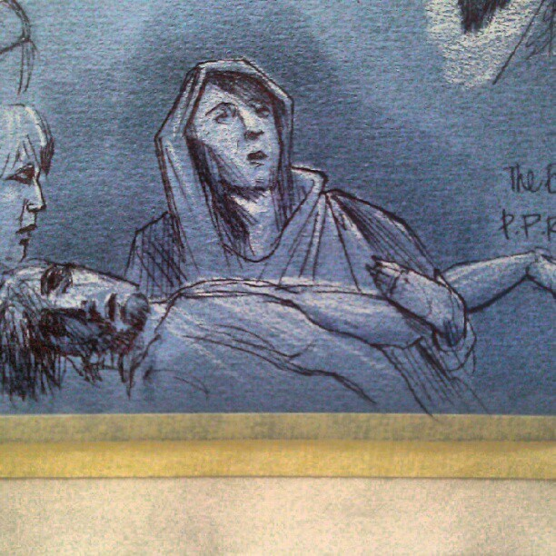 Mary holding the fallen christ. #art #illustration #drawing #sketch #figure #pen #ink #photooftheday #picoftheday #drawingoftheday #museum #gettycenter #painting #tonepaper #Mary #Christ (Taken with instagram)