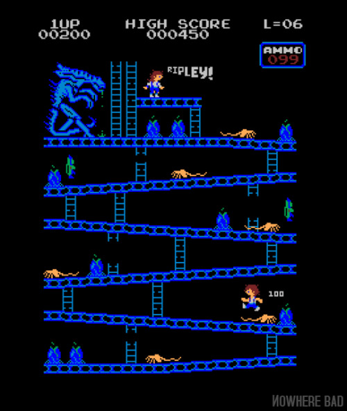 Our current shirt is the great Xeno Kong by Baz.  A limited time to get yours for $12 at www.nowherebad.com