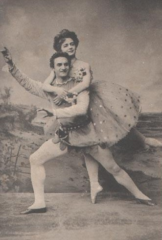 "Ekaterina Geltzer and Vasily Tikhomirov in ""The Little Scarlet Flower"", Moscow, 1911."