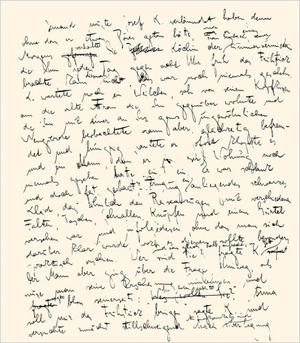 cloudeatermusic:  manuscript page from kafka's the trial