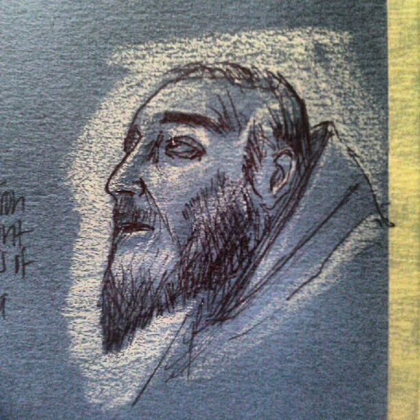 Painting of St. Francis. #art #illustration #drawing #sketch #figure #pen #ink #photooftheday #picoftheday #drawingoftheday #museum #gettycenter  #tomepaper (Taken with instagram)