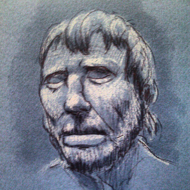 Bust of some guy. Didn't get the name. #art #illustration #drawing #sketch #figure #pen #ink #photooftheday #picoftheday #drawingoftheday #museum #gettycenter  #tonepaper (Taken with instagram)