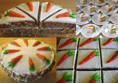 Carrot cakeHere are some samples of delicious carrot cakes that I made. The cakes are made with a 5 spice mixture: anisseed, fennel, peppercorn, cinnamon and ginger. This makes the cake really spicy. The frosting is made with cream cheese, icing sugar and lemon peel. A nice combination with the carrot cake. For decoration I made some carrots from marzipan. Crushed walnuts are used for the sides of the cakes.