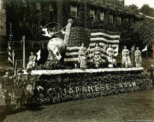 "1940 Japanese Association parade float, Portland Rose Festival This float from the 1940 floral parade was honored as the ""Goodwill Float - First Prize Winner."" This float continues a pattern of earlier Japanese American community floats from the Rose Festival that feature Japanese and American flags quite prominently. They have also depicted a globe with doves suspended over it, reflecting a desire for peace as World War II had already begun in East Asia and Europe."