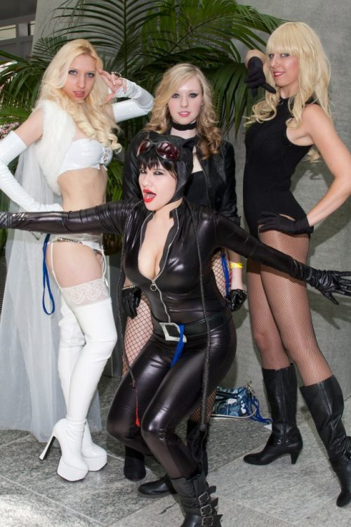 Animazement 2012. Rachel as Emma Frost, Brittani and Jess as Black Canary cosplays, and myself as Catwoman. ^_^ Submitted by agodlyservant That's all kinds of amazing!