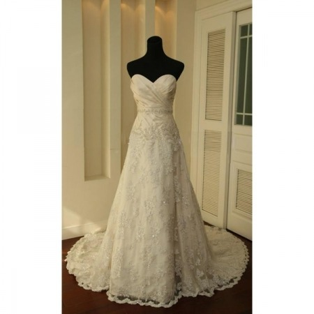 New Style Elegant and Fashionable A-Line Sweetheart Court train Satin Lace Beading Dress for Bride/Bridal Gown (AL0027) - Prices & Buy at ShopSimple.com on We Heart It. http://weheartit.com/entry/29729301