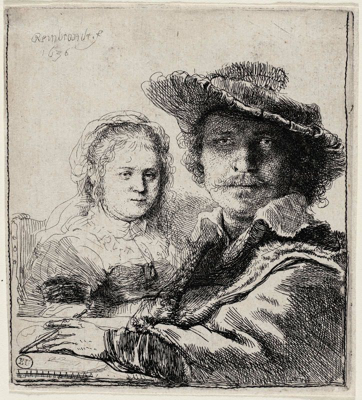 Rembrandt Harmenszoon van Rijn,  Self-Portrait with Saskia, 1636.   MFA, Boston.